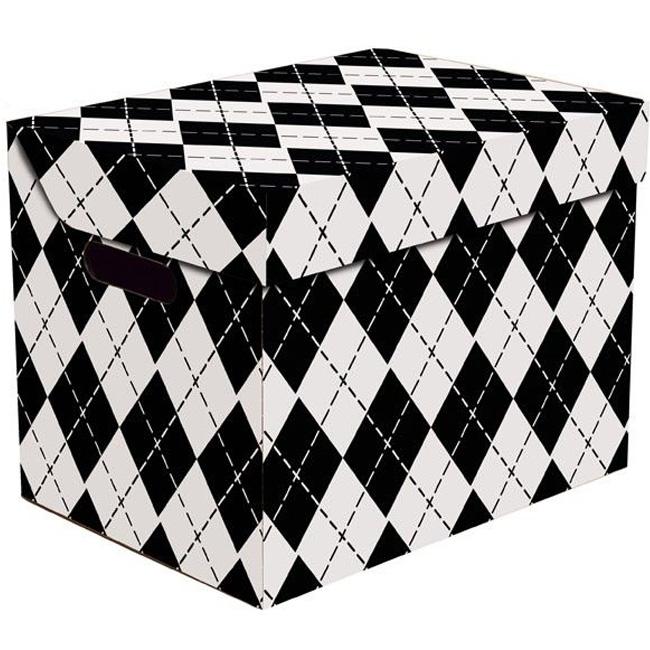 box mit deckel wei schwarz 25x34x26 aufbewahrungsbox. Black Bedroom Furniture Sets. Home Design Ideas