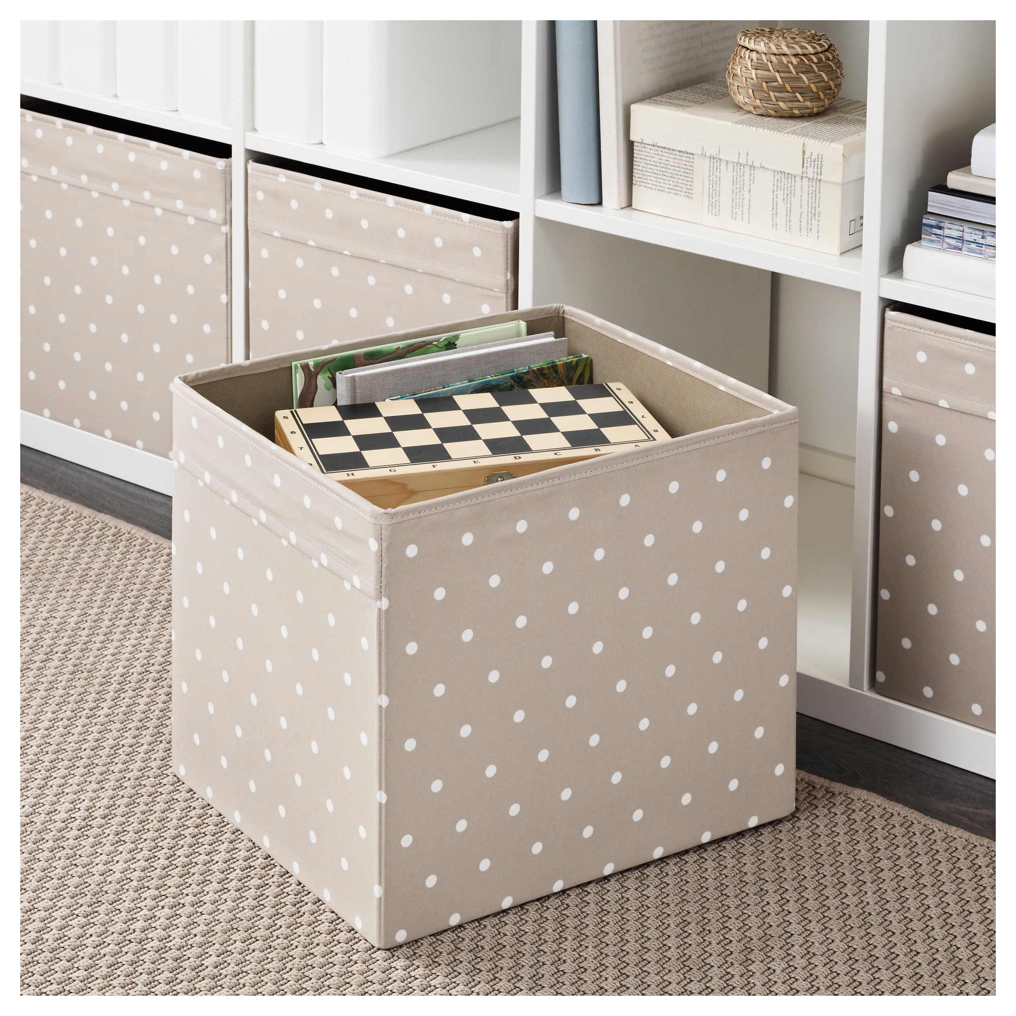 ikea dr na beige punkte fach box expedit kallax regal. Black Bedroom Furniture Sets. Home Design Ideas