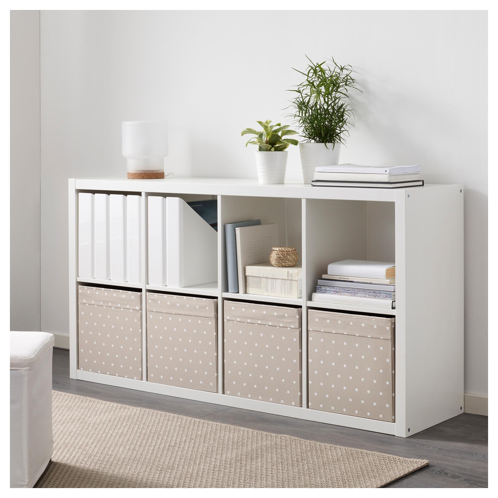 ikea dr na beige punkte fach box expedit kallax regal aufbewahrungsbox 4 st ck ebay. Black Bedroom Furniture Sets. Home Design Ideas