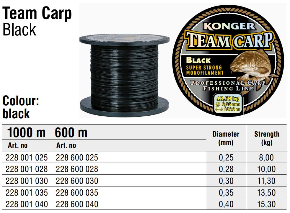 1000m SPULE KARPFENSCHNUR ANGELSCHNUR KONGER TEAM CARP CAMOU MONOFIL 0,01€//m